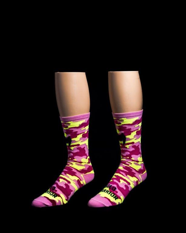 "Camo Pink 6"" Men's & Women's cycling sock with compression"