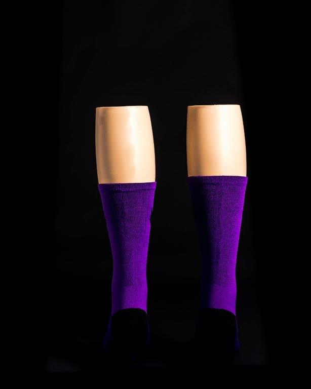 "The New 2.0 6"" Men's and Women's, Solid Purple, Compression, Cycling socks."