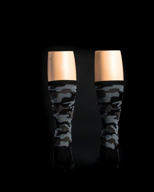 "Camo Black 6"" Men's & Women's cycling sock with compression."