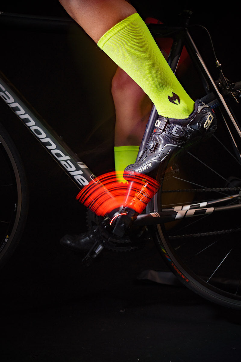 "Solid Neon Green 6"" Men's & Women's cycling socks with compression."