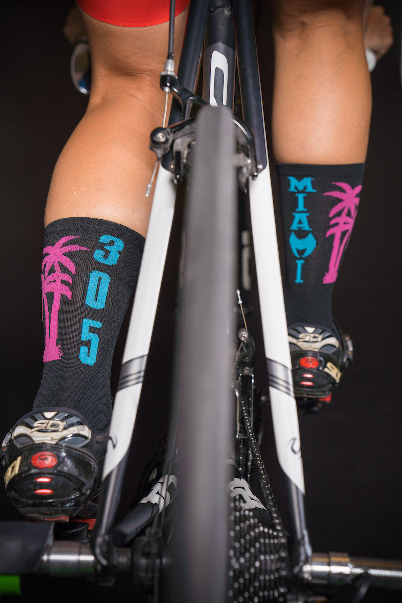 "305 Miami Heat black 6"" Men's and Women's cycling sock with compression."