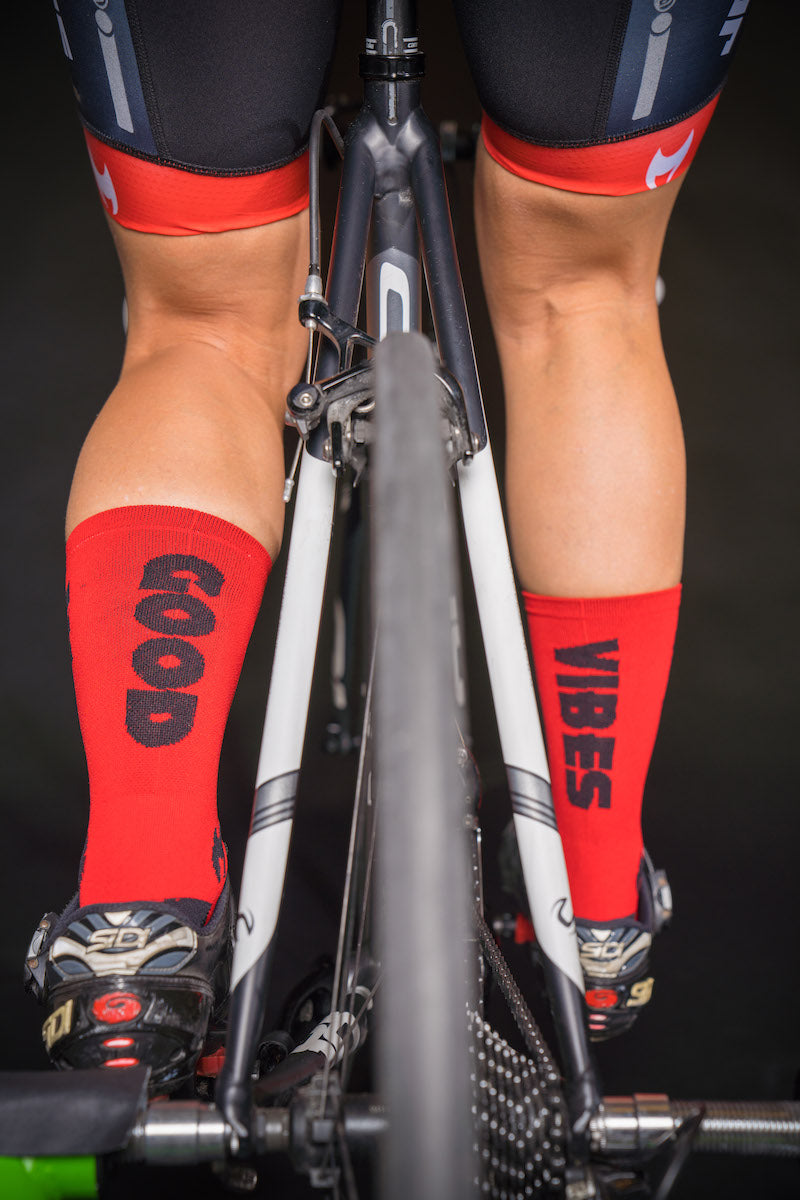 """ Good Vibes "" Red/Black 6"" Men's and Women's cycling sock with compression."