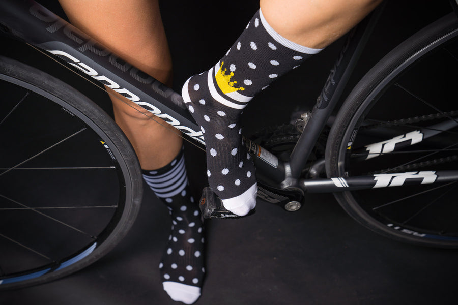 "NEW KOM BLACK  6"" men's and women's cycling compression sock."