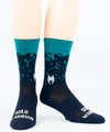 """The Drip"" dark blue/turquoise 6"" Men's & Women's cycling sock with compression"