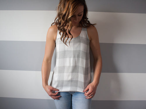 Madison Top - Grey Plaid