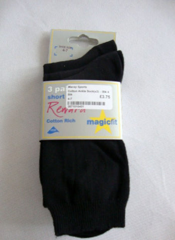 Pk 3 Black ankle socks