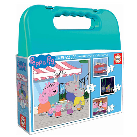 Set de 4 Puzzles Peppa Pig Progressive Educa (6-9-12-16 pcs)
