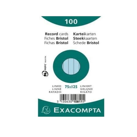 Fiches Exacompta Bristol 10811x Bleu (7,5 x 12,5 cm)(100 pcs) (Refurbished A+)