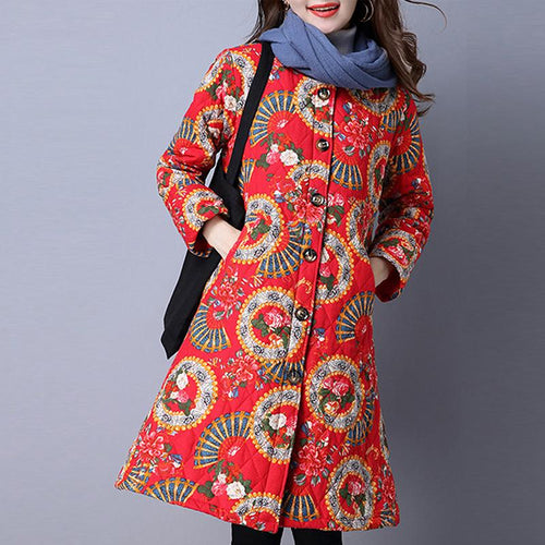 Collarless Pocket Quilted Tribal Printed Padded Coat