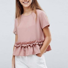 Load image into Gallery viewer, Fashion Round Collar Pink Flouncing Plain T-Shirts