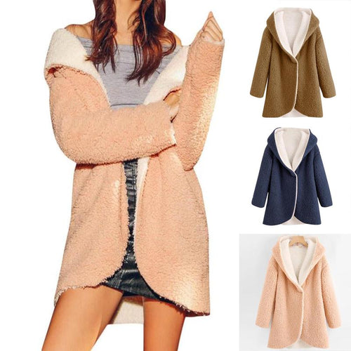 Casual Pure Color Warm   Wool Cotton Coat Cardigan Jacket