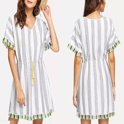 Stylish Stripe Printed Tassels Mini Dresses