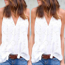 Load image into Gallery viewer, V Neck  Tassel  Hollow Out Plain Vests