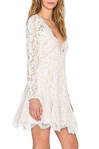 V Neck See Through Lace Dress
