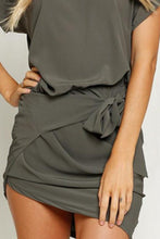 Load image into Gallery viewer, Round Neck Batwing Sleeve Asymmetric Hem Bodycon Dresses
