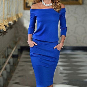 Off Shoulder Patchwork Plain Fitted Bodycon Dresses