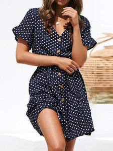 Fashion Polka Dot V Neck Belted Chiffon Mini Dresses