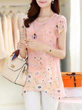 Load image into Gallery viewer, Floral Petal Sleeve Decorative Necklace Short Sleeve T-Shirt