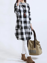 Load image into Gallery viewer, Plaid Band Collar Patch Pocket Curved Hem Shift Dress