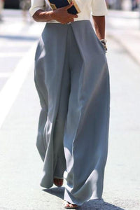 Zipper Plain Wide Leg Pants