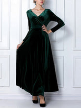 Load image into Gallery viewer, V-Neck Plain Empire Velvet Maxi Dress