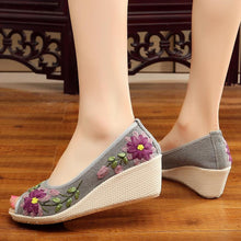 Load image into Gallery viewer, Embroidery Peep-Toe Wedges