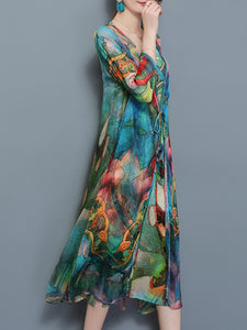 Multi-Color Printed Two-Piece Long Dress