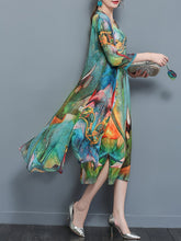 Load image into Gallery viewer, Multi-Color Printed Two-Piece Long Dress