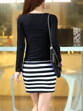 Load image into Gallery viewer, Round Neck  Striped Mini Bodycon Dress