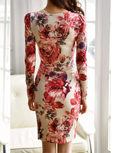 Load image into Gallery viewer, V-Neck Floral Printed Bodycon Dress