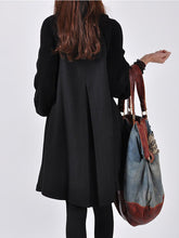 Load image into Gallery viewer, High Neck Patchwork Plain Woolen Coat