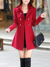 Load image into Gallery viewer, High Neck Double Breasted Pocket Woolen Plain Coat