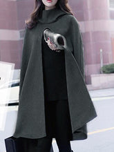 Load image into Gallery viewer, Hooded Plain Vented Woolen Cape Sleeve Coat