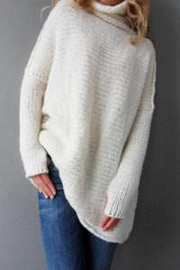 High Neck  Plain Sweaters
