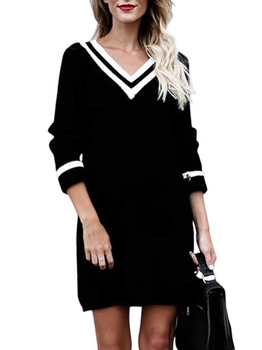 V-Neck Striped Knitted Mini Shift Dress