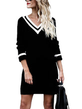 Load image into Gallery viewer, V-Neck Striped Knitted Mini Shift Dress