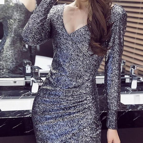 Deep V-Neck  Plain  Polyester Bodycon Dresses
