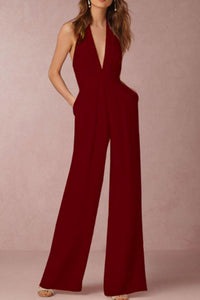 Deep V Neck  Backless  Plain  Sleeveless Jumpsuits