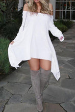 Load image into Gallery viewer, Off Shoulder  Asymmetric Hem  Plain  Long Sleeve Casual Dresses