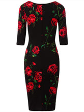 Load image into Gallery viewer, Round Neck  Floral  Blend Plus Size 5XL Bodycon Dress