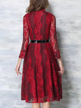 Load image into Gallery viewer, Band Collar Lace Hollow Out Maxi Dress