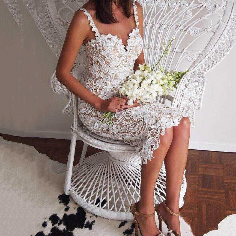 Sexy Sling Lace Wedding Evening Dress
