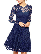 Load image into Gallery viewer, Round Neck See-Through Plain Lace Skater Dress