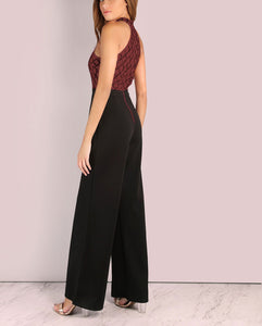 Sexy Hanging Neck Splicing Flared Jumpsuit