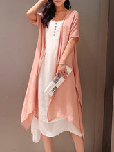 Load image into Gallery viewer, Pink Crew Neck Two Piece Buttoned Casual Dress