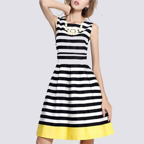 Sexy Suspenders Coconut Striped Skater Dress