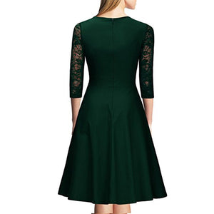 Retro Square Collar Splicing Lace Skater Dress