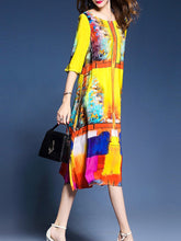Load image into Gallery viewer, Colorful Round Neck Side Slit Printed Maxi Dress
