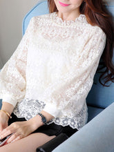 Load image into Gallery viewer, Round Neck  Decorative Lace  Floral  Puff Sleeve  Long Sleeve Blouses