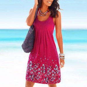 Round Neck  Floral Printed Casual Dresses